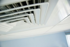 air condition vent in office ceiling close up